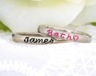 Stacking Mother's Name Ring, Custom Personalized Name Ring, Silver Stainless Steel Thin Stackable Name Ring, Gift for Mother