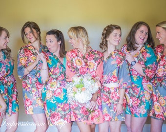Floral bridesmaid robes. Bridal robe. Set of 7, Getting ready photo robe. Bridal shower gift. Gift for bridesmaids Maid of honor Flower girl