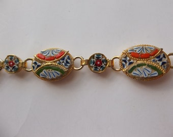 vintage mosaic bracelet, bo ho jewelry, vintage jewelry, vintage bracelet,jewellry ,gold tone bracelet, jewellery jewlry jewelry