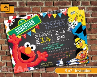Elmo Invitation, Elmo Birthday Invitation, Sesame Street Invitation, Sesame Street Elmo Invitation, Elmo Printable, Elmo Invite 1st 2nd TF-8