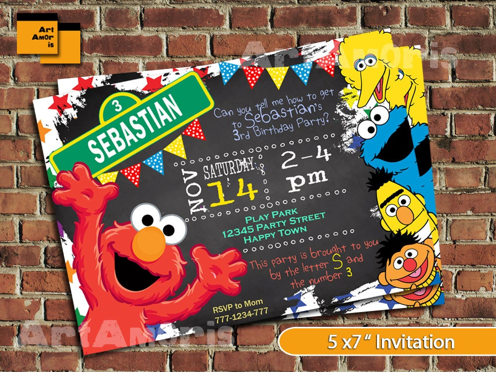 Elmo Invitation Elmo Birthday Invitation Sesame Street – Sesame Street 1st Birthday Invitations