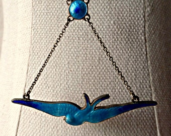 Vintage Art Nouveau Charles Horner Sterling Silver Bluebird Swallow Necklace