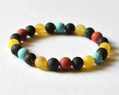 Amber, Turquoise & Coral Bead Bracelet Multicolored Bohemian Bracelet Natural Gift for Her