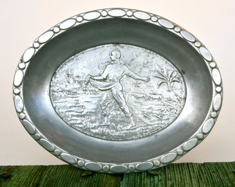 Italian embossed aluminium serving tray