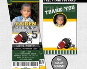 FOOTBALL TICKET INVITATIONS Birthday Party + Thank You Card - (print your own) Any Color!  Personalized Printable File