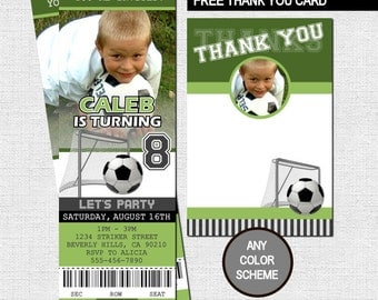 SOCCER TICKET INVITATIONS + Free Thank You Card - Birthday Party - (print your own) Any Color!  Personalized Football Printable Files