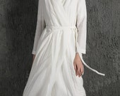 White Linen Jacket Dress - Wraparound Belted Sheer Loose-Fitting Overcoat Lightweight Women's Summer Coat C630
