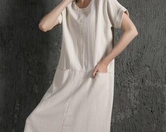 Elegant causal linen Dress With Pockets C627