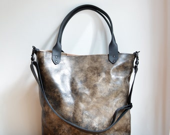 Tote bag laptop bag BLACK distressed hand painted leather