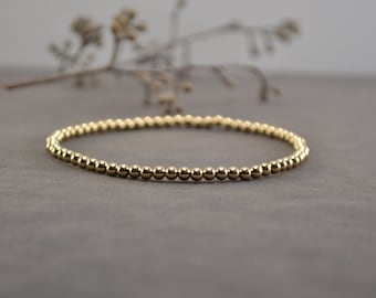 Gold Stackable Bracelet, Stretch Bracelet, Gold Beaded Bracelet, Gold Filled Jewelry, Gold Bracelet, Handmade