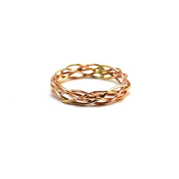 5 Strand Braided Ring - Customizable - 5 mm Wide - Silver, Gold, Rose Gold
