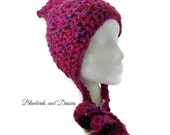 Deep Pink Crocheted Pixie Hat