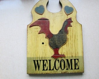 Wall Art, Rooster Welcome Plaque, Yard Art, Shabby Folk Chicken Primitive Decor, Painted Solid Wood w/ Rooster ~ BreezyJunction.etsy.com