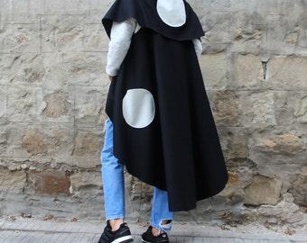 SALE ON 20 % OFF Black Oversized Cashmere Vest , Plus size clothing, Extravagant Vest, Maxi Vest, Chic Vest, Cashmere cover up ,sleeveless V