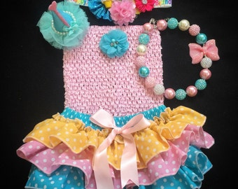 First Birthday/Candyland Birthday /Birthday Bloomers /Cotton Candy theme /Pink Blue Birthday /CakeSmash /Candy Land Outfit /Birthday Hat