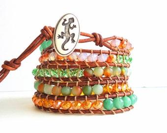 Leather Wrap Bracelet, 5 wrap bracelet, Tangerine orange bracelet, Apple Green bracelet, Lizard bracelet, reptile jewelry, spring trend 2018