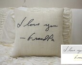 Burlap Pillow/Personalized Handwriting Pillow/Remembrance Gift - In Memory Of / Christmas Gift / Valentine's Gift / Valentine's Pillow