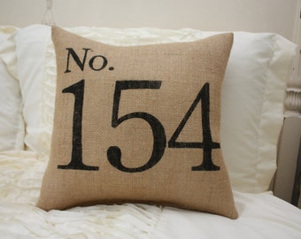 Burlap Pillow / House Number Pillow / Personalized Address Pillow
