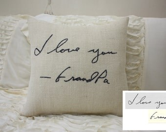 Burlap Pillow/Personalized Handwriting Pillow/Remembrance Gift - In Memory Of / Bereavement / Christmas Gift