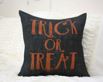 Black Burlap Pillow / Halloween Pillow / Trick Or Treat / Fall Pillows