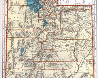 Utah Vermont Maps Vintage 1940's Original US State Map Rand McNally, Wall Decor