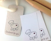 Printable Tags for crochetters. Crocheted for you. Crocheted with love. 3 JPG files. 6 digital tags.