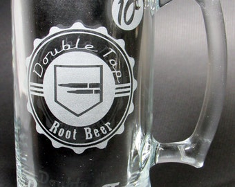 Double Tap Root Beer Etched Beer Mug: COD Zombies Inspired Double Tap Root Beer Perk-A-Cola inspired mug. Double Tap Perk Machine Tribute