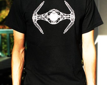 TIE FIGHTER T SHIRT black top mens star wars boys tshirt art party trek vintage ring uniform clothing costume mask sci fi shirts force clone