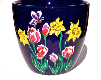 Flowerpot Hand Painted Blue Pot With Tulips and Daffodils, Garden Decor, Teacher Gift, Painted Flowerpot, Home Decor, Gifts For her