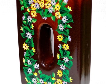 Vase Hand Painted Brown With Multi-Colored Flowers, Home Decor, Housewarming Gifts, Wedding Shower Gift, Home Decor, Gifts For Her