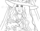 Little Lady Witch - digital stamp, colouring page, printable, instant download