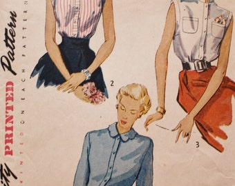 1950s Blouse /Simplicity 3092 /Vintage Sewing Pattern / Button Front Dart Fitted /Bust 30