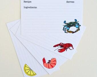 Set of 16 Recipe Card 3 X 5 Recipe Card 4 X 6 Recipe Card Seafood Recipe Card Set Shellfish Recipe Card Lobster Recipe Card Crab Recipe Card