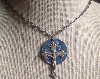PRICED TO SELL Vintage Assemblage Steampunk Silver Italian 100 Lire Coin and Cross Necklace Etsy andersonhs