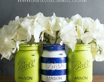 Painted and Distressed Mason Jars – Solids & Stripes – Custom Color Combinations for Wedding Showers, Baby Showers, Home Decor