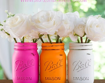Pink, Tangerine, White Painted Distressed Mason Jars - Weddings, Showers, Centerpiece, Vase