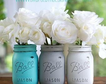 Painted Distressed Mason Jars - Aqua Blue, Gray, White - Vases, Weddings, Showers, Home Decor