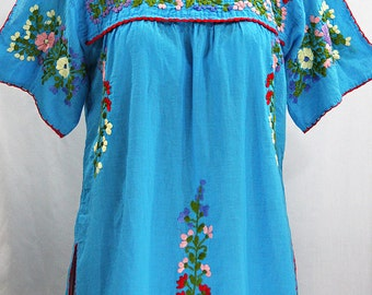 "Mexican Peasant Top Blouse Hand Embroidered: ""Lijera"" Aqua"