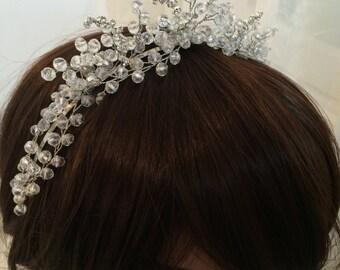 Wedding crown, bridal crown, crystal crown for bride, flower crown bridal, silver crown for wedding, floral crown wedding, crown headpiece