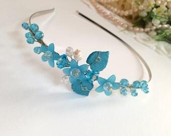Blue flower girl tiara, silver flower girl headband, flower girl blue tiara, crystal headband for flower girl, flower girl hair accessories