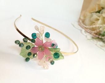 Flower girl tiara headband, gold flower girl headband, flower girl pink and green headpiece, flower girl hair accessories, flower headband