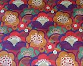 Mod Flower Print Fabric Ascher Studio 3 Yards Designer Stretch Cotton Blend Mid Weight Fabric Purple Green Orange Red Vintage Flower Power
