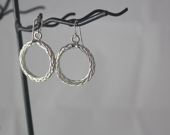 Circle Hand Braided Sterling Silver Earrings