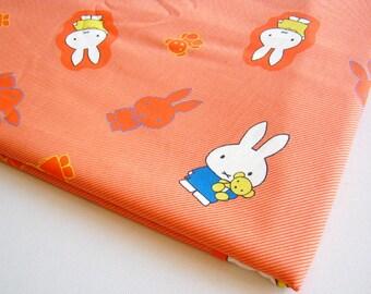 Miffy and Friend, Japanese Cotton Orange Miffy, Cute Rabbit, Cartoon fabric, rabbit, Baby Shower, Girl Dress, Pillow Cover, Curtain, JP031