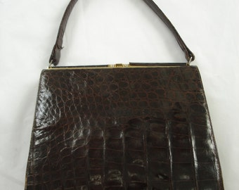 Genuine I Magnin Alligator and Leather Lined Brown Shoulder Hand Bag