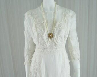 1900 White Fine Lawn Cotton Batiste Handmade Lace Wedding Day Dress