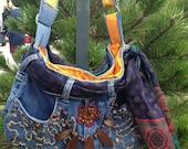 Kool, Funky, Upcycled jeans bag, lined bag, scarf belt,  snap closure, adjustable strap, Handmade, one of a kind,