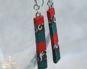 Red Teal  Brown Long Slim Hanji Paper Earrings OOAK Dangle Earrings Handmade Hypoallergenic hooks Lightweight Patchwork Design