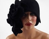 Cloche hat FLAPPER HAT Black Hat Roses Hat 1920s Hat Felt Hat Cloche art deco noir wearable art art deco wool felt nunofelt nuno felt silk