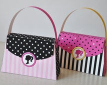 Barbie inspired Purse Favor box pink black and white - pdf printable party bag TEXT EDITABLE for Princess party, Paris spa party, sleepover